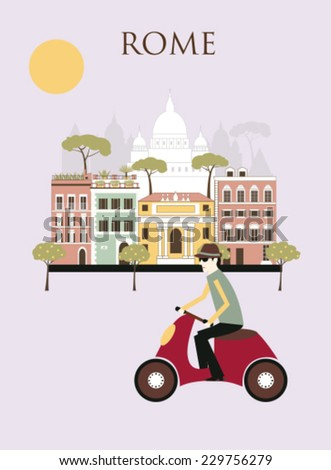 Man in Rome on the bike. Italy. Vector - stock vector