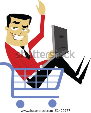 Man in Shopping Cart using computer