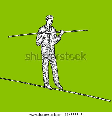 Man in suit balances on the rope