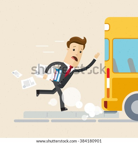 Man in suit is late for work or a meeting. Employee is running for a outgoing bus. Illustration, vector EPS 10 - stock vector