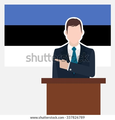 Man in suit standing at rostrum Front of  Country Estonia Flag Pointing to the flag. business man Presentation conference concept. Modern flat design vector background illustration. - stock vector