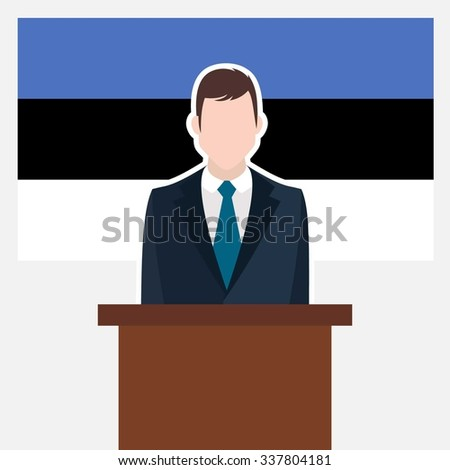 Man in suit standing at rostrum Front of Estonia Country Flag. Businessman Presentation conference concept. Modern flat design vector illustration. Country Flag background. - stock vector