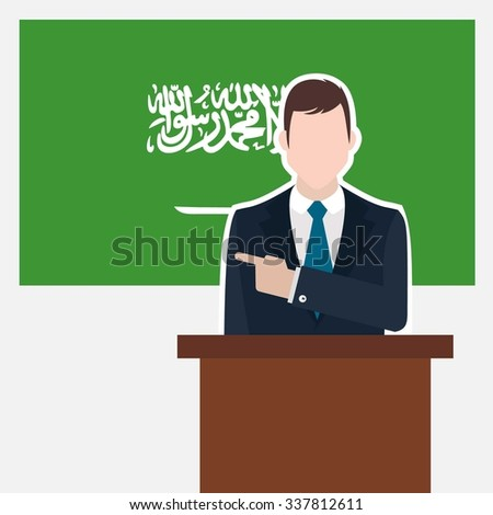 Man in suit standing at rostrum Front of Saudi Arabia Country Flag Pointing to the flag. Business man Presentation conference concept. Modern flat design vector background. - stock vector
