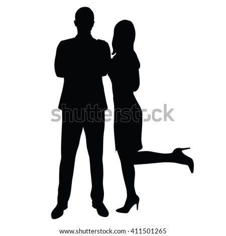 Man in suit standing face with folded arms, sexy woman cuddle up to him, leaning on him. Dominance, leadership, charm, strength, charisma. Couple of young people in formal wear. Business man and woman - stock vector