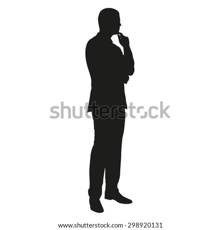 Man in suit thinking - stock vector