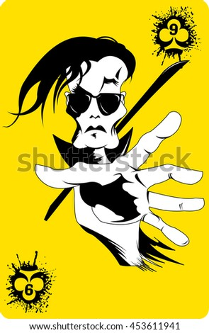 man in sunglasses with a large black sword, vector - stock vector