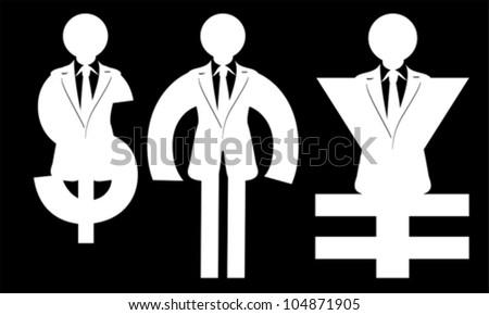 man in the form of a dollar, euro, yen, vector - stock vector