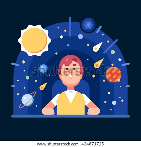 Man in the planetarium. The solar system in a flat style. Vector flat illustration.