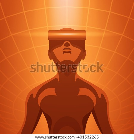 Man in the virtual reality headset - stock vector