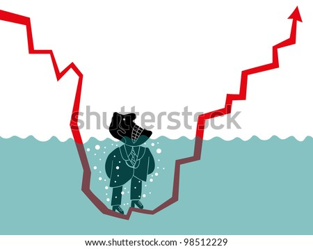 man in the water because statics - stock vector