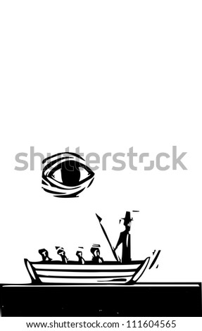 Man in whale boat being watched by a gigantic whale. - stock vector
