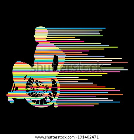 Man in wheelchair disabled people concept made of stripes vector background - stock vector