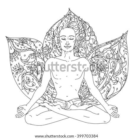 Man Yoga Lotus Position Meditation Logo Stock Vector 399703384 ...