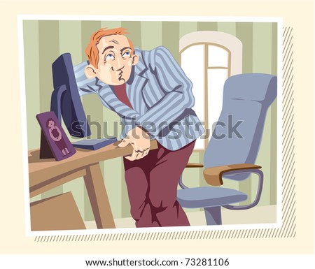 Man is browsing the Internet or searching something on his local drives. Editable vector EPS v9.0 - stock vector