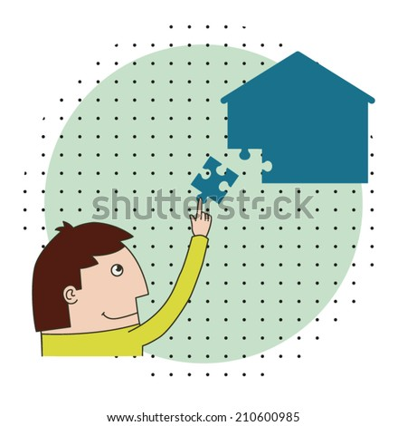 Man is Collecting Puzzle House / Concept vector illustration of a man building or figuring out his house - stock vector
