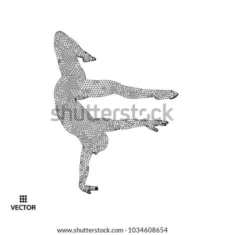 Man Posing Dancing Dancer Performs Acrobatic Stock Vector 1034608654
