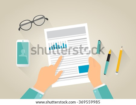 Man is reading a contract. Computer generated picture. Flat illustration. Document, mobile phone, glasses, pens, human hand. - stock vector