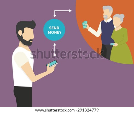 Man is sending money to his parents via mobile phone - stock vector