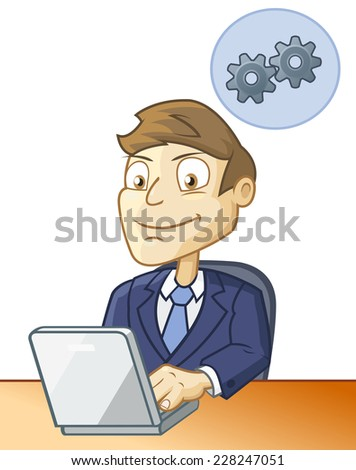 Man is sitting at the desk and working on the computer  - stock vector