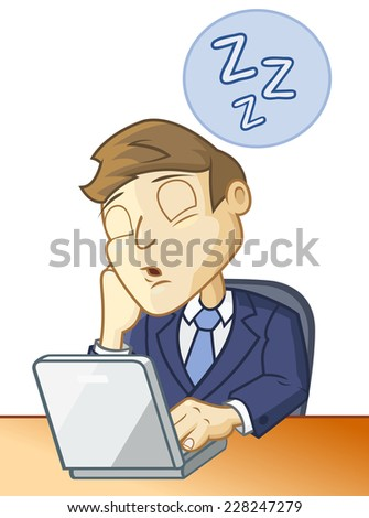 Man is sleeping at the desk in front of the computer - stock vector