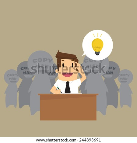 Man is stealing Idea. Vector - stock vector