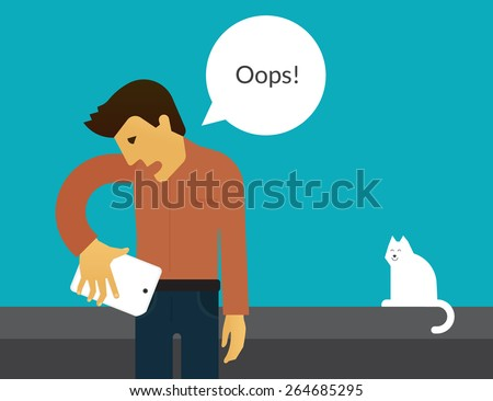 Man is trying to place his huge phone into the pocket. Illustration with speech bubble  - stock vector