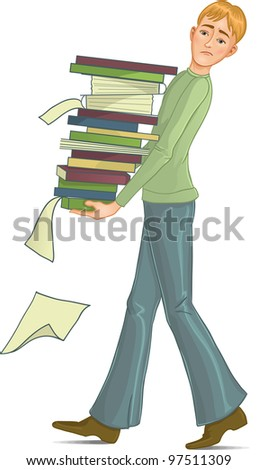 Man is under stress with lot of paper work - stock vector