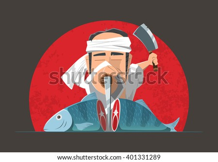 Man japanese asian cook chef cooking fish or sushi - stock vector