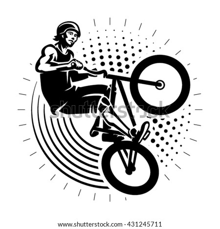 Man jumping on bmx bike performing a stunt. Sport illustration in the engraving style - stock vector