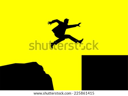 Man jumping over rough terrain to smooth terrain - stock vector