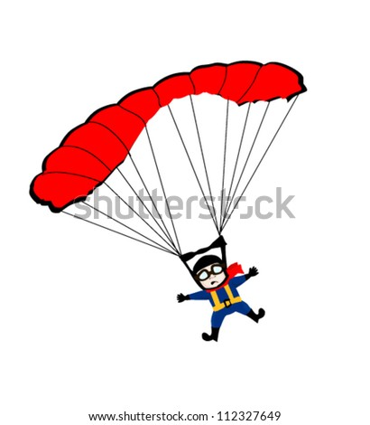 Man jumping with parachute - stock vector