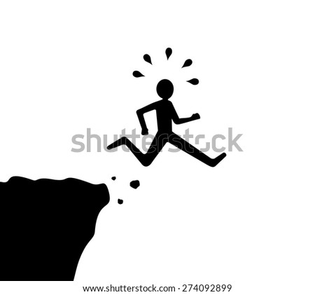 man jumps off cliff, black and white  - stock vector