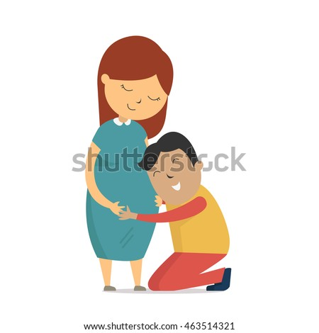 Kneeling Down While Pregnant Baby Belly Stock...