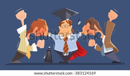 Man lawyer between two shouting and fighting dispute conflict people businessmans or boss and employee. Color vector character illustration. - stock vector