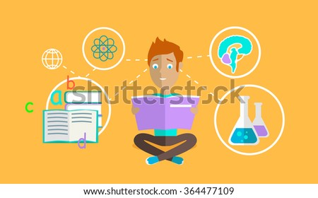 Man learning ability concept design. Strategy education, development business skill, solution work, success learn, motivation teaching, training and illustration. Back to shool. Education concept - stock vector