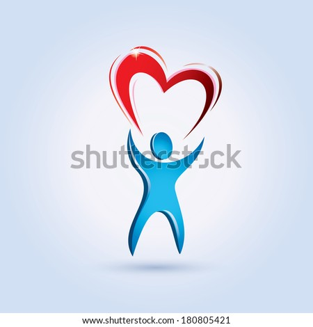 man lifting a heart stylized vector symbol