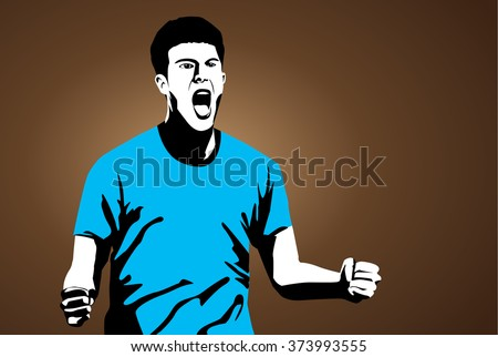 Man lifting up fist and shout with happy feeling on brown background. Illustration of people in two tone color retro style. - stock vector