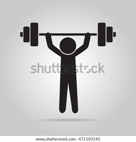 Man lifting weight icon, symbol vector illustration