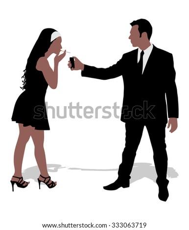 Man lighting cigarette to woman, vector - stock vector