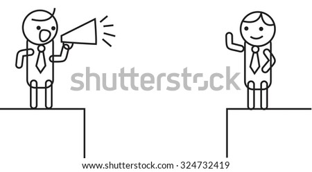 man listening to announcement - stock vector