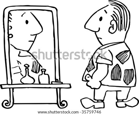 child looking in mirror clipart. man look at mirror child looking in clipart