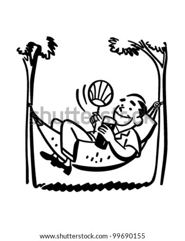 Man Lounging In Hammock - Retro Clipart Illustration - stock vector