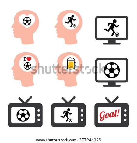 Man loving football or soccer icons set  - stock vector