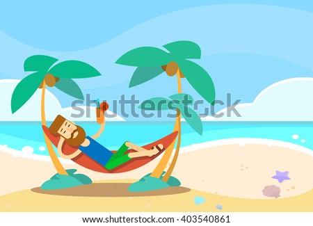 Man Lying In Hammock Beach Vacation Flat Vector Illustration - stock vector