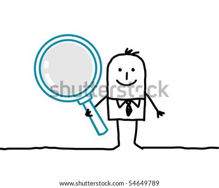 man & magnifying glass - stock vector