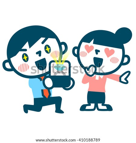 Man making a proposal to girl - stock vector