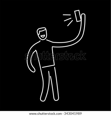 man making selfie with one hand with smartphone or camera vector photography and linear icon and infographic | illustration of gear and equipment for photographers white isolated on black background - stock vector