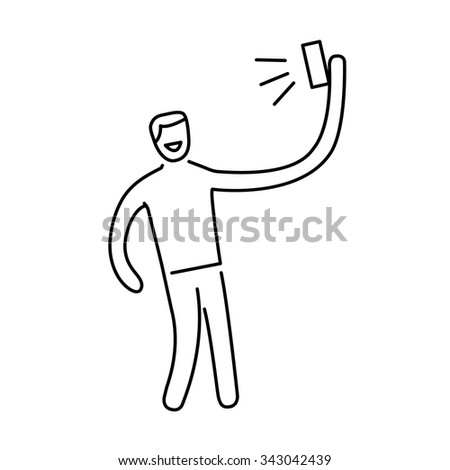 man making selfie with one hand with smartphone or camera vector photography and linear icon and infographic | illustration of gear and equipment for photographers black isolated on white background - stock vector