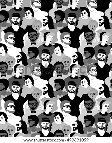 Man male only crowd group gray scale seamless pattern. Monochrome detailed vector illustration with lots of objects . EPS8