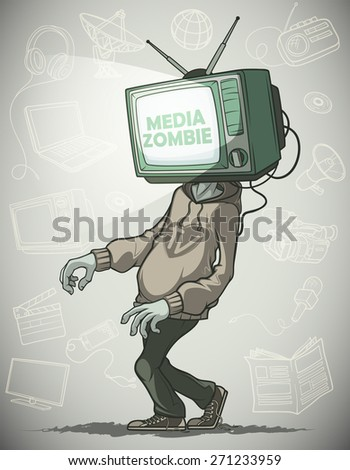 Man Media zombie with retro tv instead of the head.  Against the background of the objects associated with the mass media